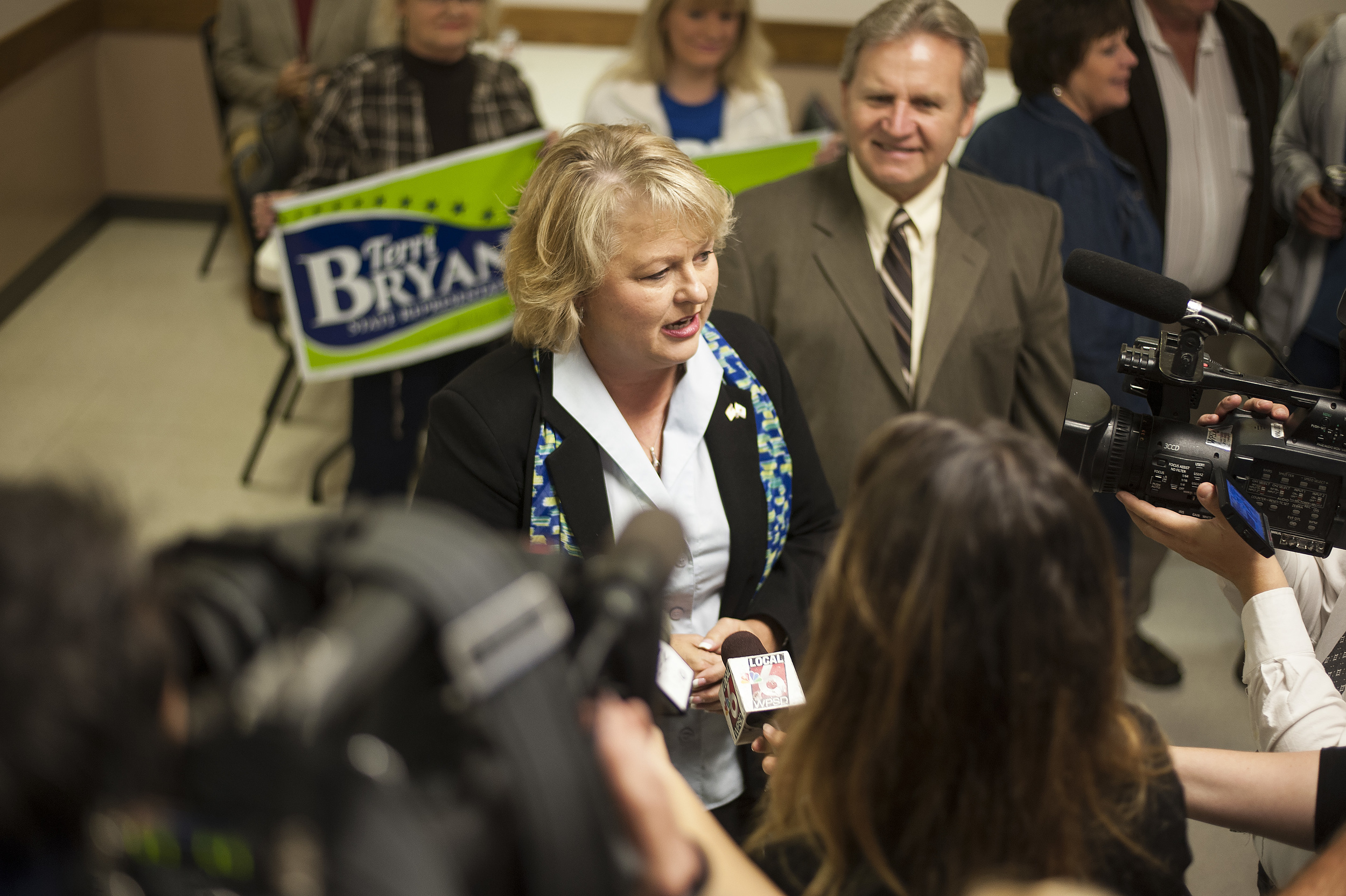 Terri Bryant (R-Murphysboro) answers questions from local media before delivering her victory speech.