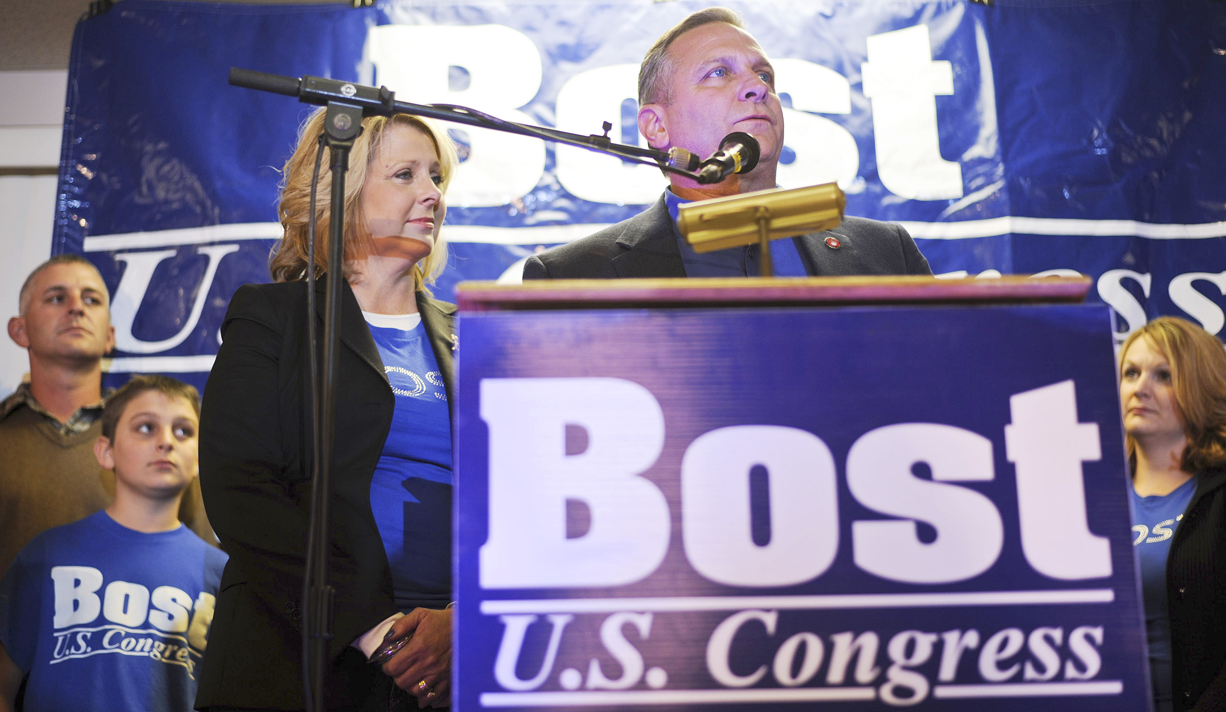 "Mike Bost  (R-Murphysboro) gives his victory speech. ""I thank you so very much for the opportunity to serve you,"" Bost said. ""I have had one of the best staffs that I could ever ask for to put this together."""