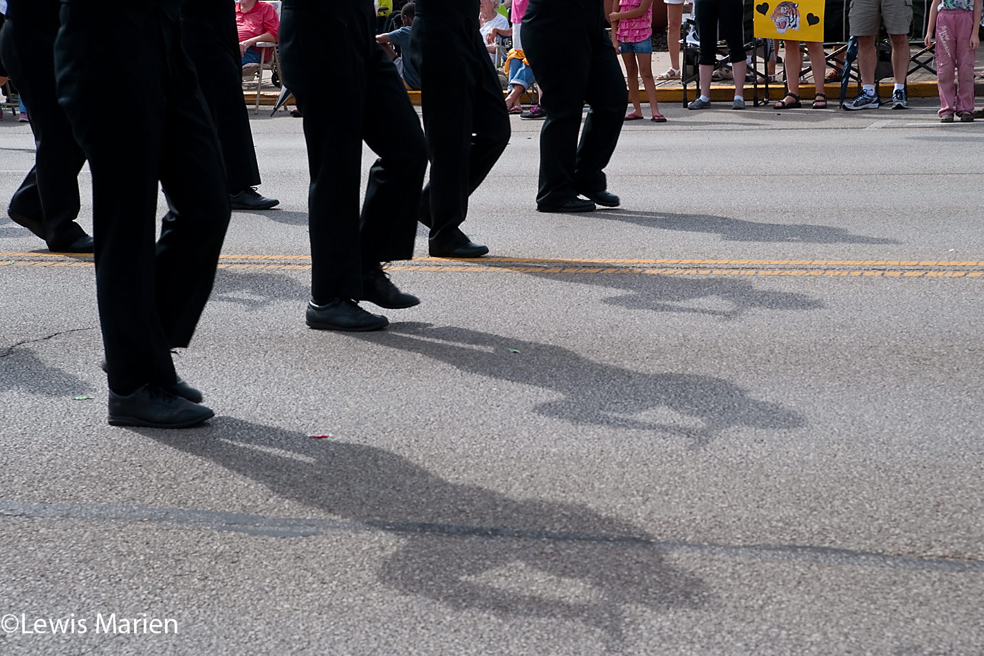 The ROWVA High School Marching Band performs in the 123rd annual Labor Day Parade in Galesburg, Ill.,on Sept. 7.