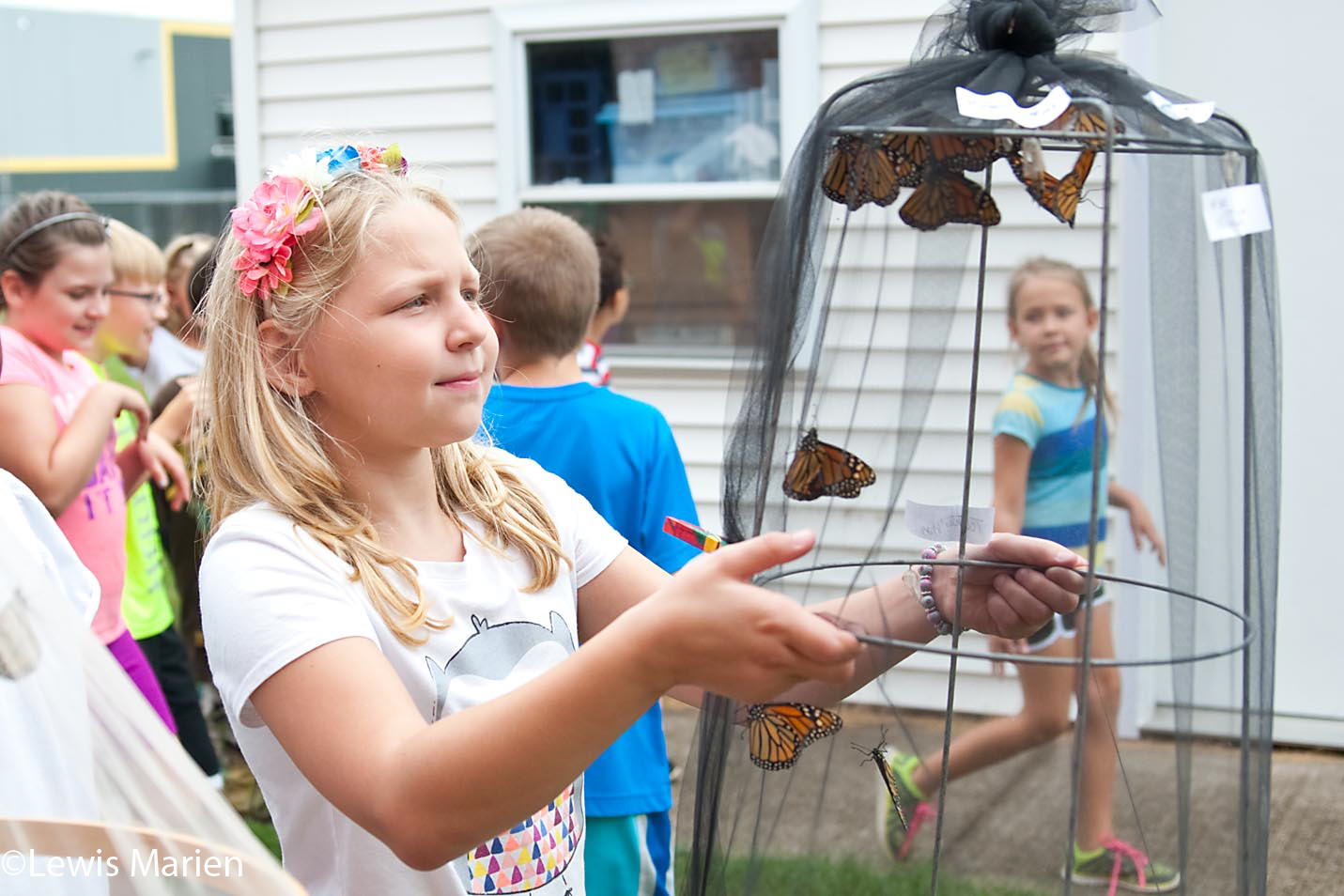 Bailey Ripka, 9, carries a basket filled with monarch butterflies near Gale Elementary School in Galesburg, Ill., on Sept. 8. Students at the school released more than 70 monarch butterflies which are migrating to Mexico for the winter.