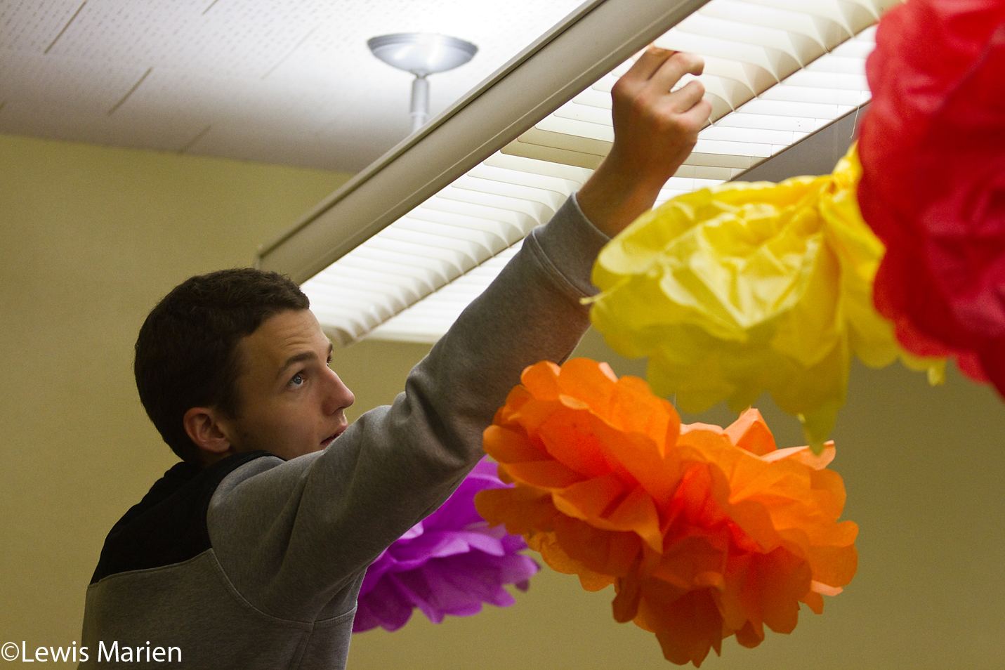 Galesburg High School student Eric Thompson repositions hanging paper flowers in his Housing and Interior Design class Oct. 14. Students in the class redesigned their teacher's room over a period of time.
