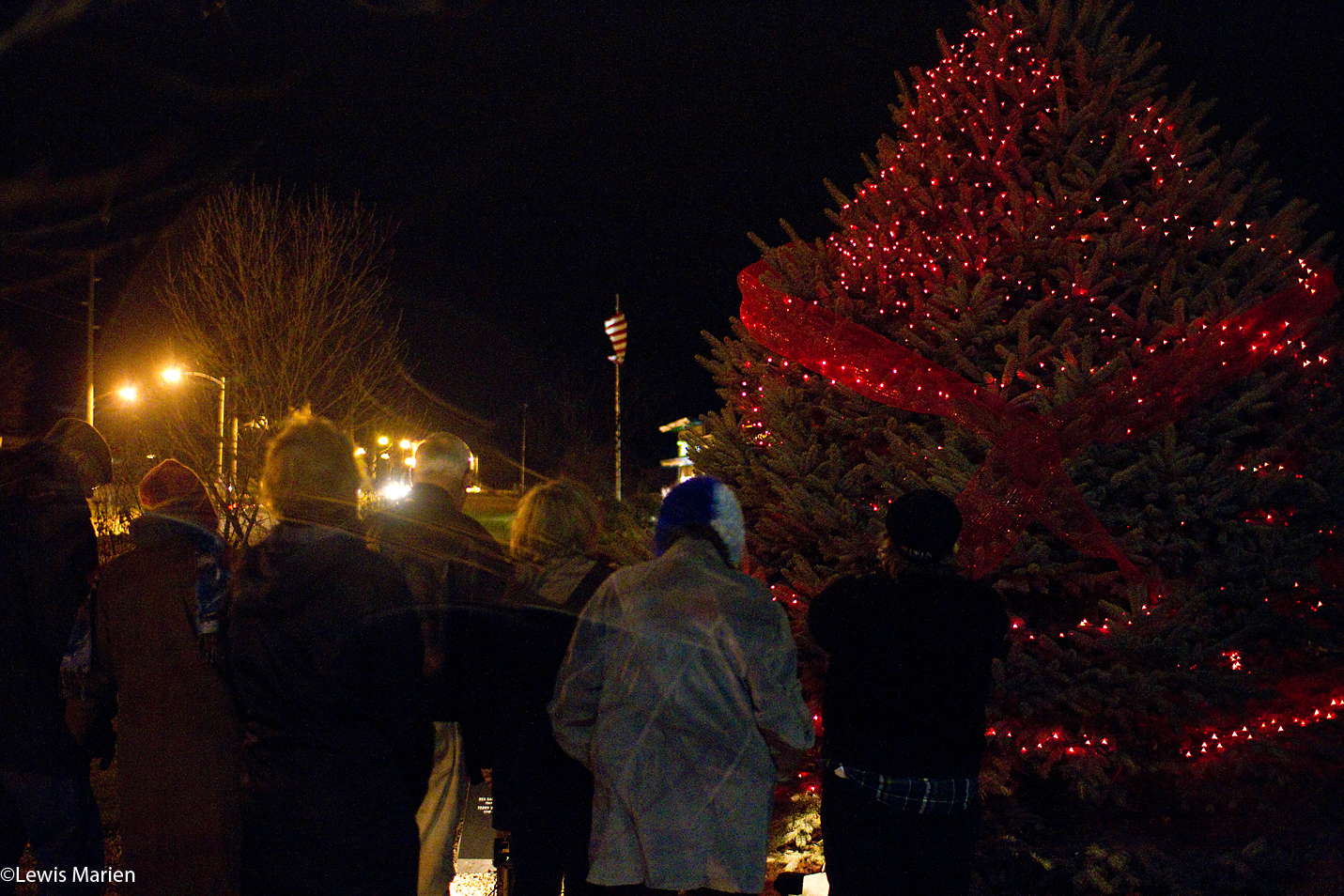 Attendees of the World AIDS Day Tree Lighting Ceremony stand in a moment of silence Dec. 1 as a tree at the Memorial Garden outside of the Knox County Health Department in Galesburg, Ill.,is illuminated with red lights. World AIDS Day is a day dedicated to heighten awareness of both HIV and AIDS, as well as to remember those whose lives have been touched by the disease.