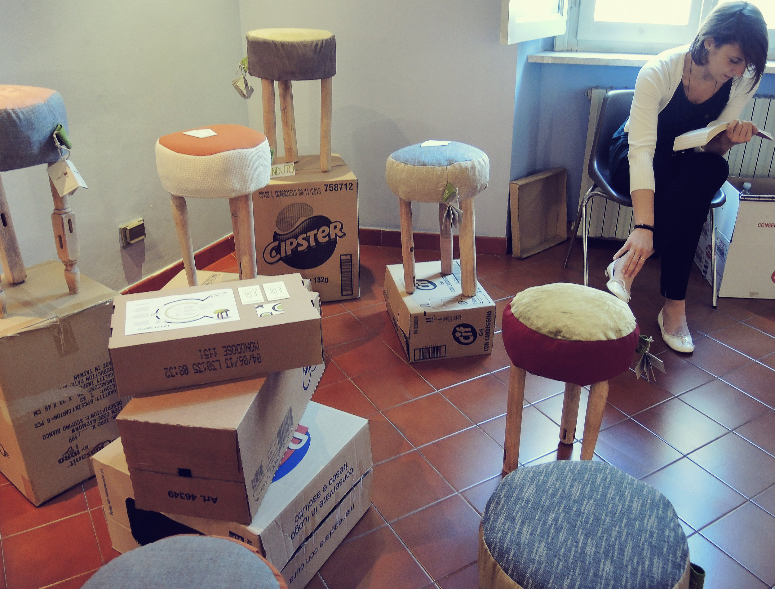 "Stool  left over ""scrap"" materials by young defunct Italian design group Marasma.  Write here..."