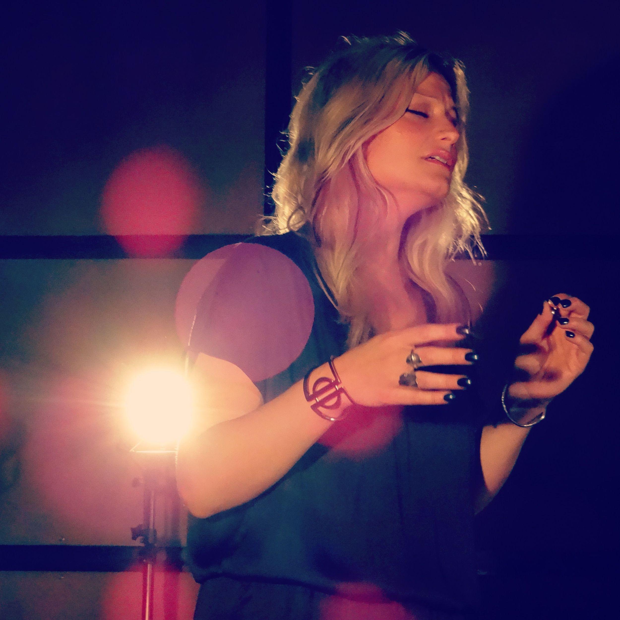 Bex filming her acoustic demo