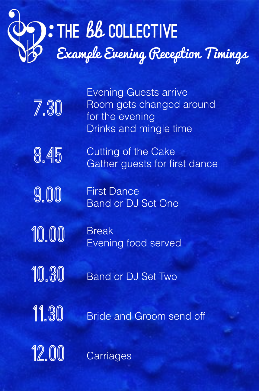 Wedding evening reception suggested timings