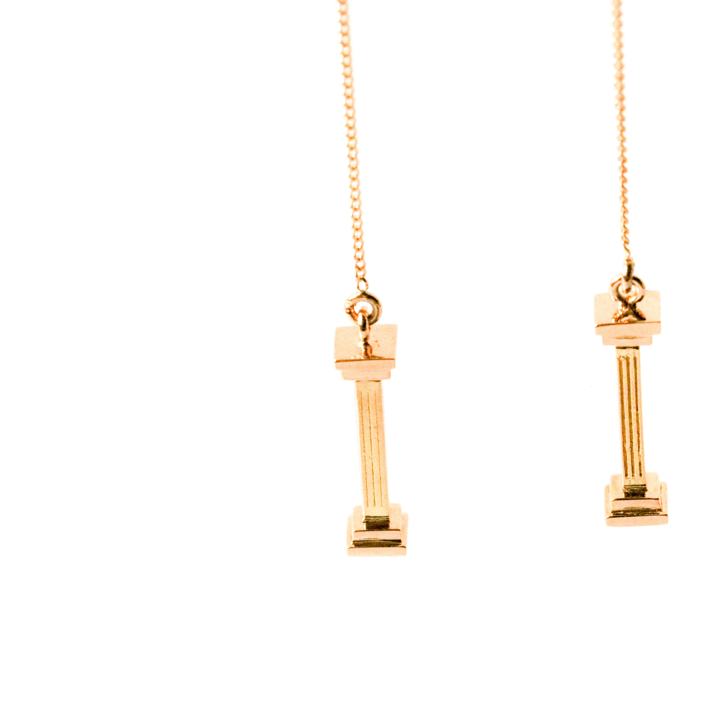 Suspended Colonnade Earrings in 18ct yellow gold