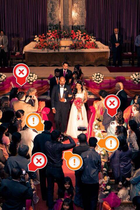 This image not only showcases the desperate need for more unplugged weddings. The red crosses show guests with devices in their hands. But also shows how some videographers/photographers (marked with a yellow exclamation mark) can be a visual nuisance. I tell clients to not hire videographers who use onboard tungsten lights. It ruins everything. Don't ask me why there are two cameramen at the same angle in this photograph using two tungsten lights.