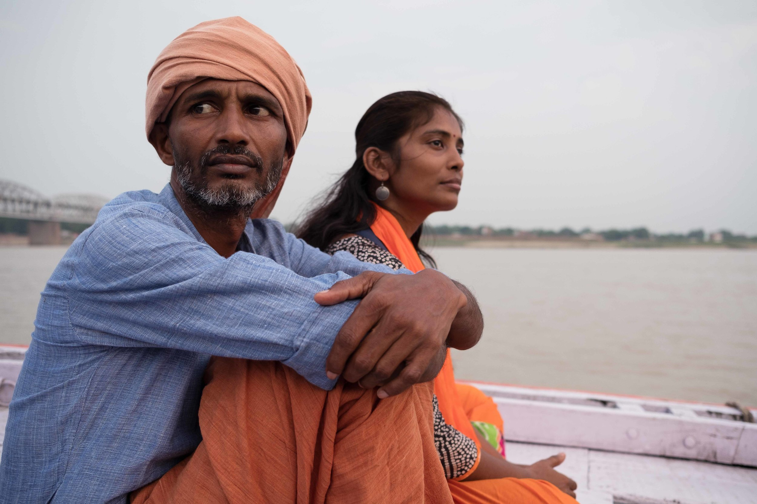 My friends Krishna and Beena, boat on the Ganga, Varanasi, India, 2018