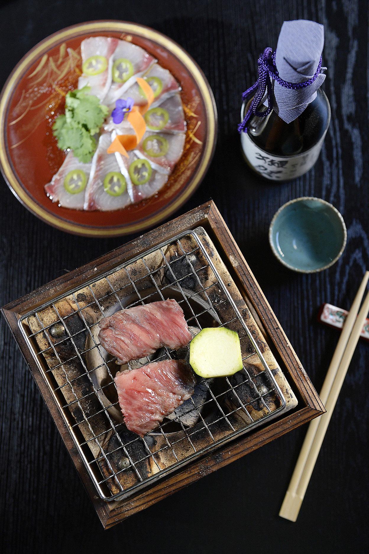 CHP_Export_133276009_Kingfish sashimi with Jalapeno %26 Wagyu beef Robata  at Himeji Japanese Grote St.jpg