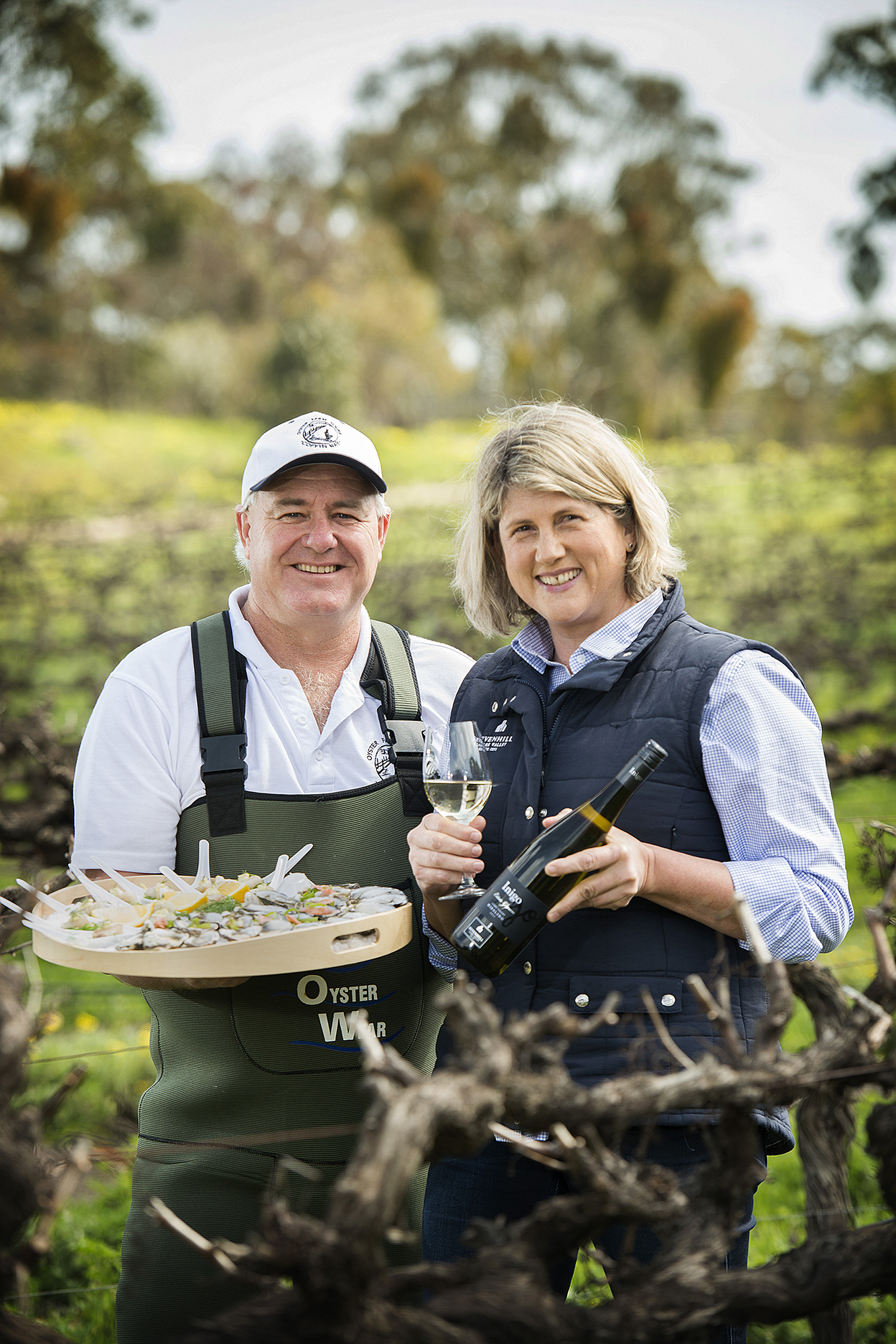 CHP_Export_143861486_Oyster farmer Ben Catterall Coffin Bay Oyster Events  & wine maker Liz Heidenre.jpg