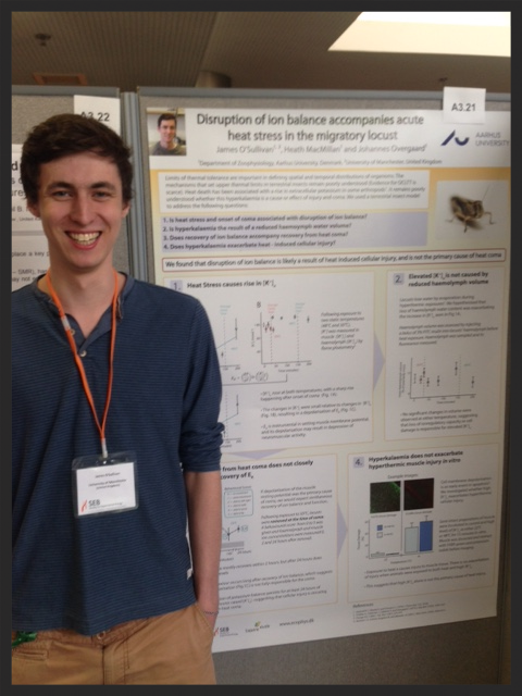 James O'Sullivan tries not to laugh beside his (very serious) poster about the effects of heat stress on locust ionoregulation.