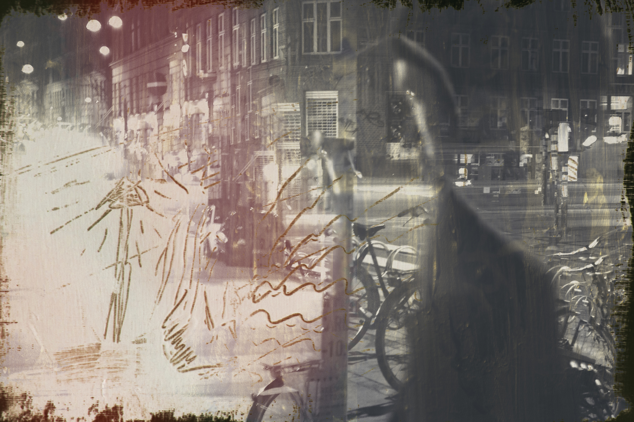 2013, Acryl on canvas merged with photographs  70 x 100 cm