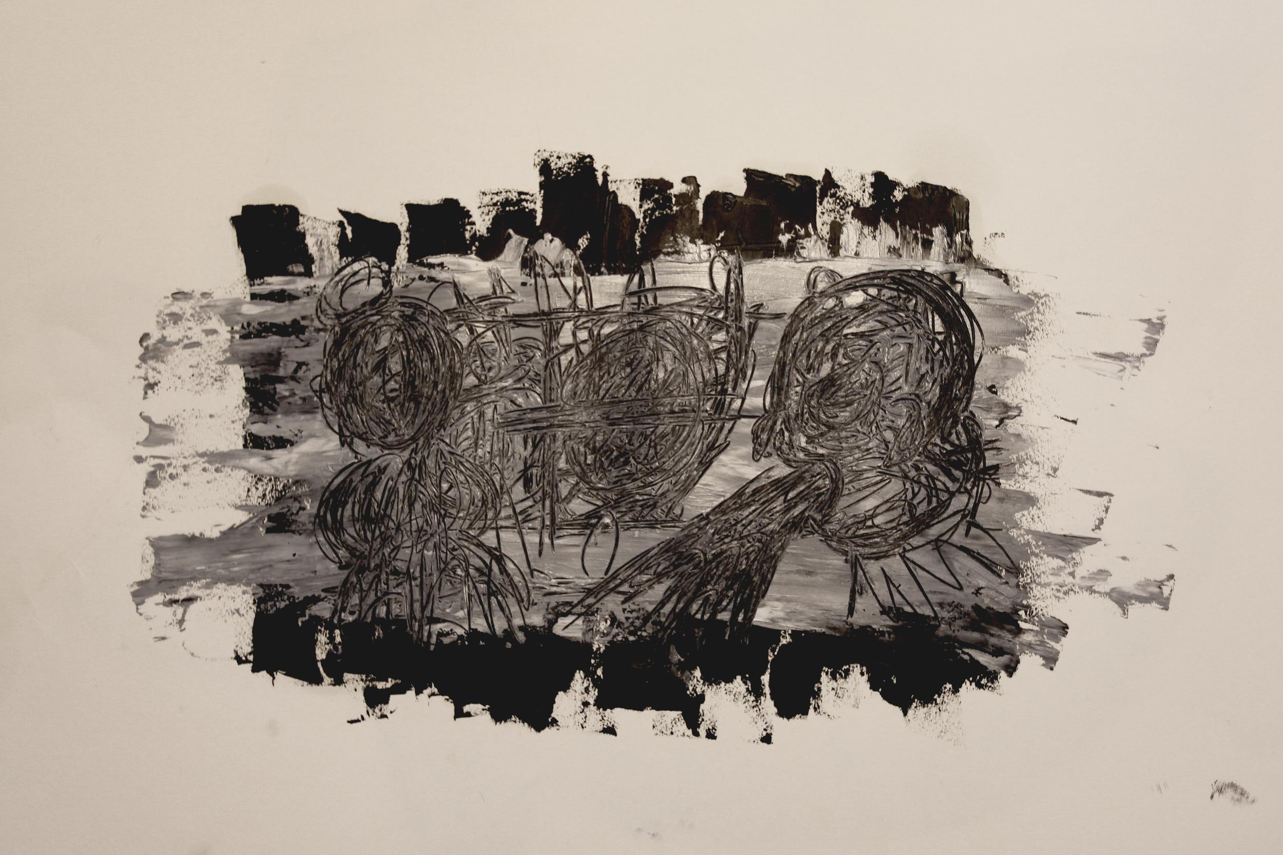 Frustrationer,  (Frustrations) Oil on paper  2013