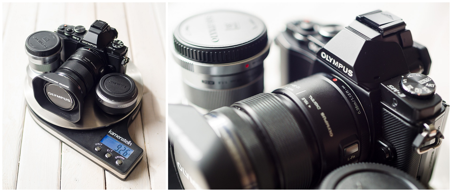 My first mirrorless kit: Olympus OM-D E-M5 with 12-50mm, Olympus 45mm f/1,8 and Panasonic 20mm f/1,7