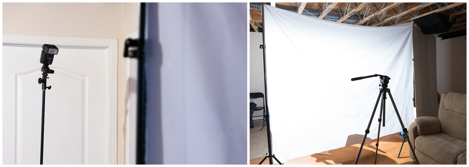 The setup: a flash ~6 feet away from a big6'x9' nylon white fabric held by two clips on 2 flash stands