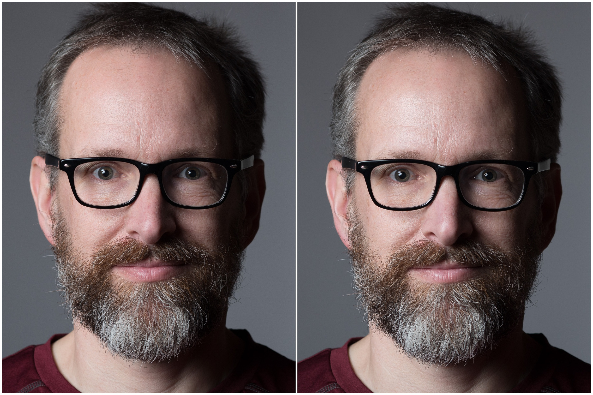 Using a polarizer (left) in studio to reduce the glare on the skin (right).