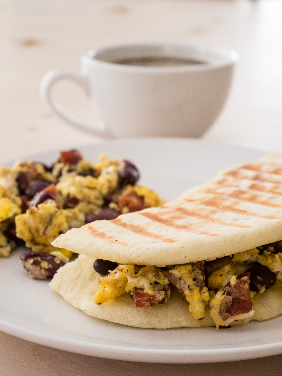 Chorizo and Red beans omelette in a panini