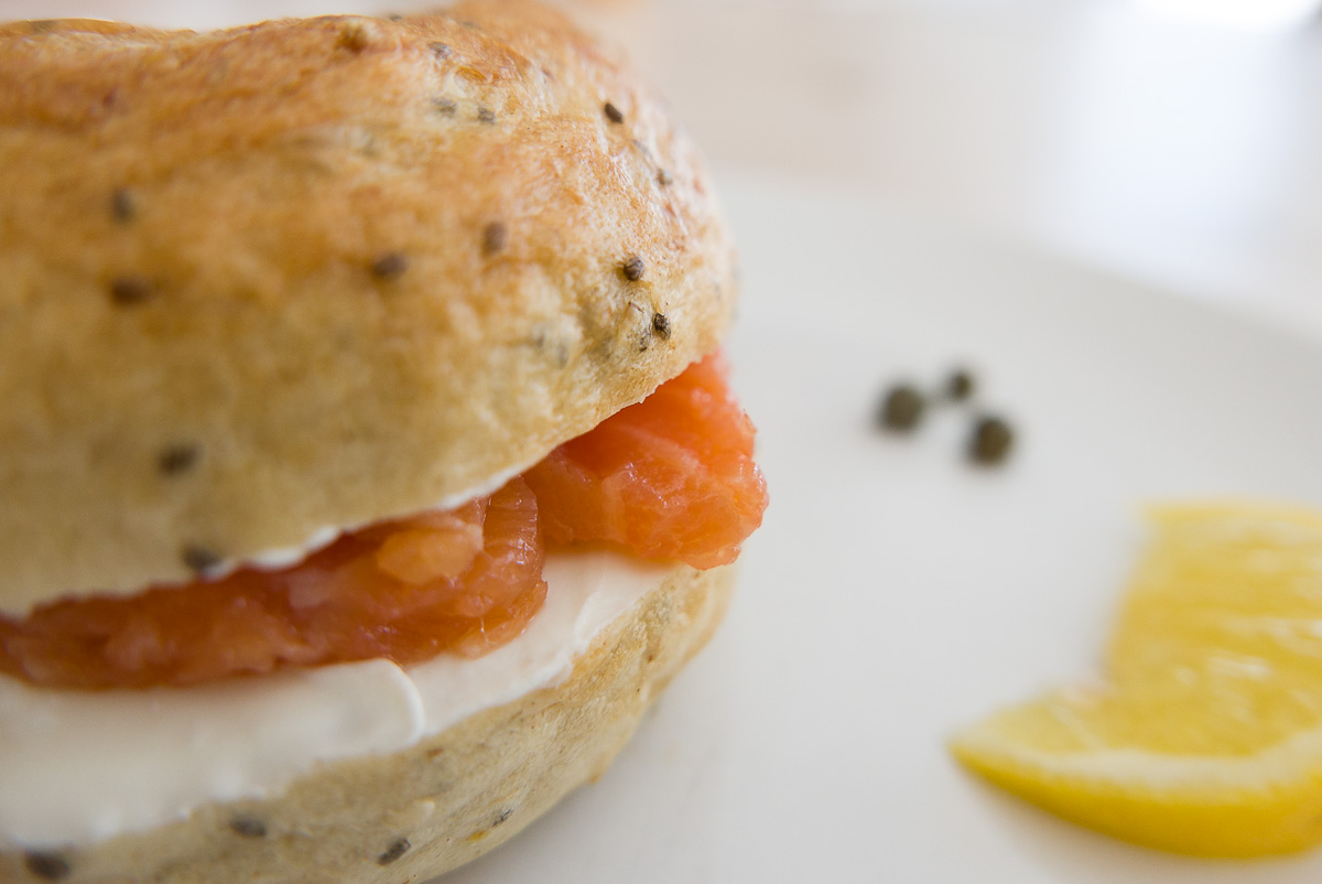 I made Chia seeds bagels and we had smoked salmon leftovers :)