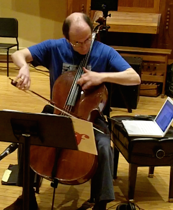 Rehearsal for Jonathan Harvey's  Ricercare una melodia  for solo cello and electronics, BEAMS Festival at Brandeis University