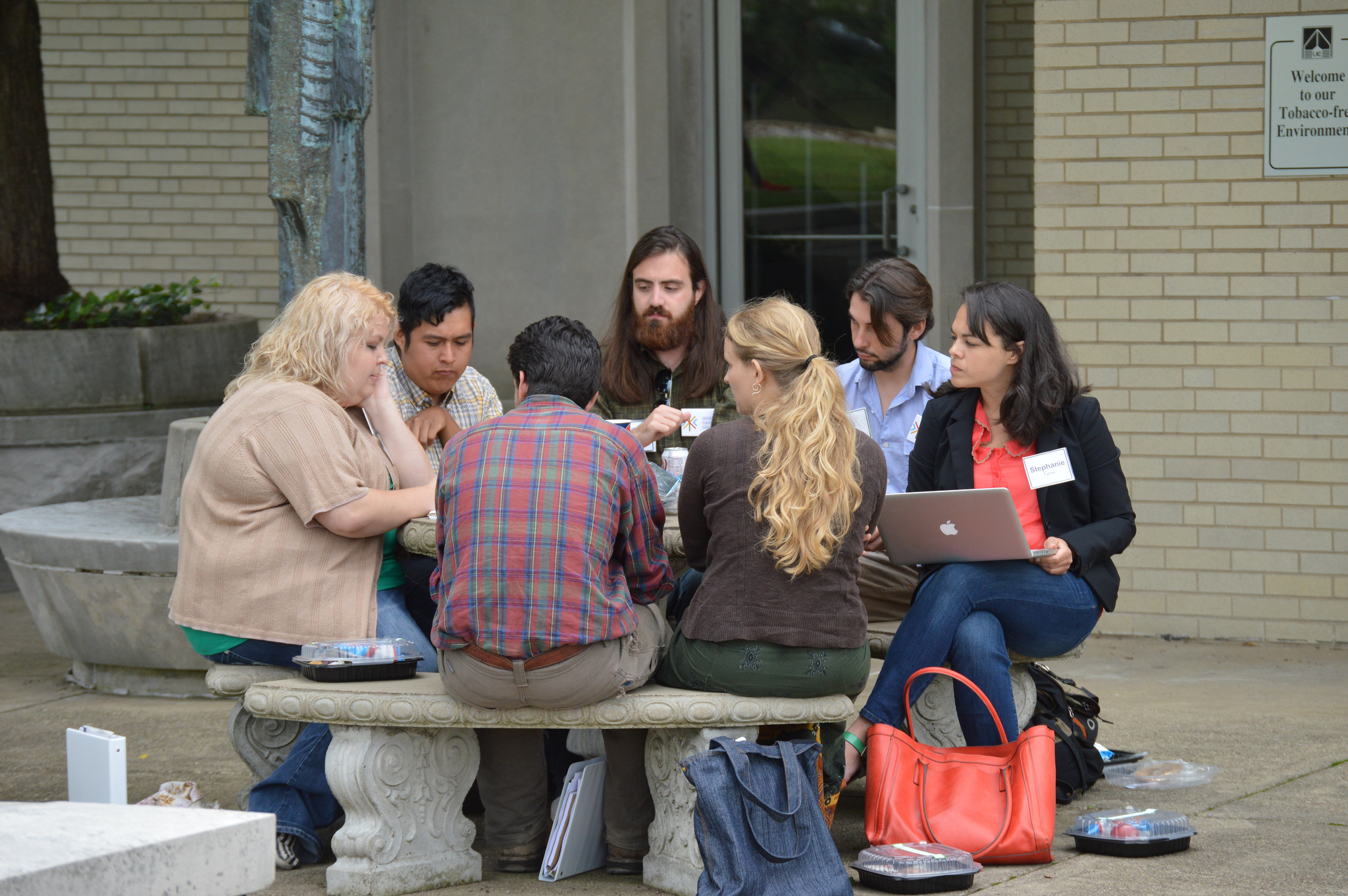 Fellows, Civic Life Institute attendees, and I discuss alternative business models over lunch. Photo by Catherine Moore.