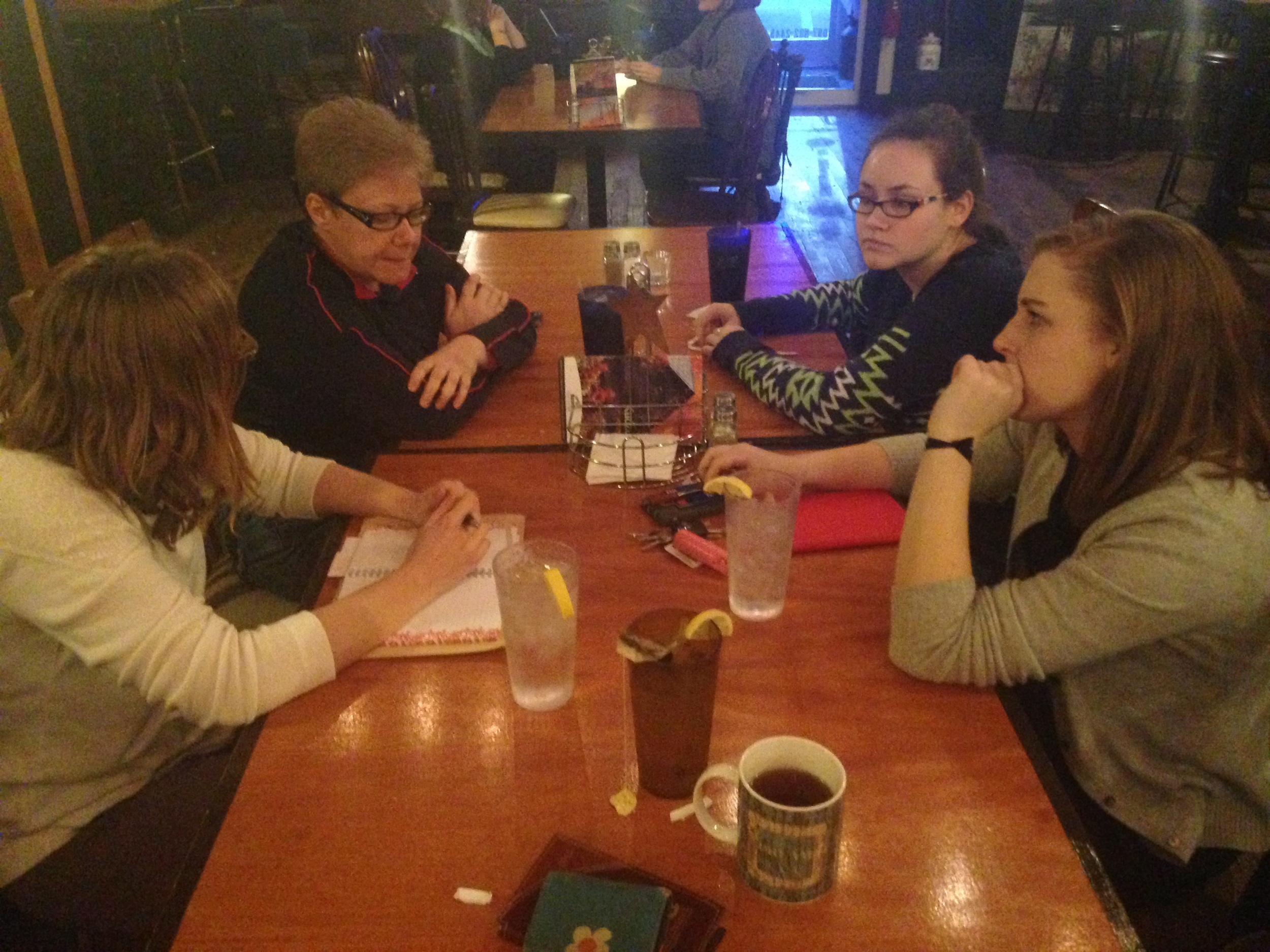 One of many community group meetings over dinner at Treehouse – this one about engaging more stakeholders in InVision efforts.