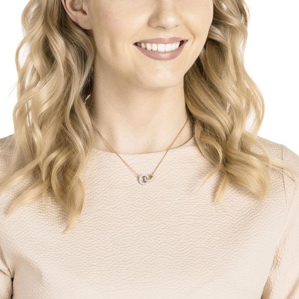 "Swarovski ""Stone"" necklace in rose gold. Also comes in silver/black."