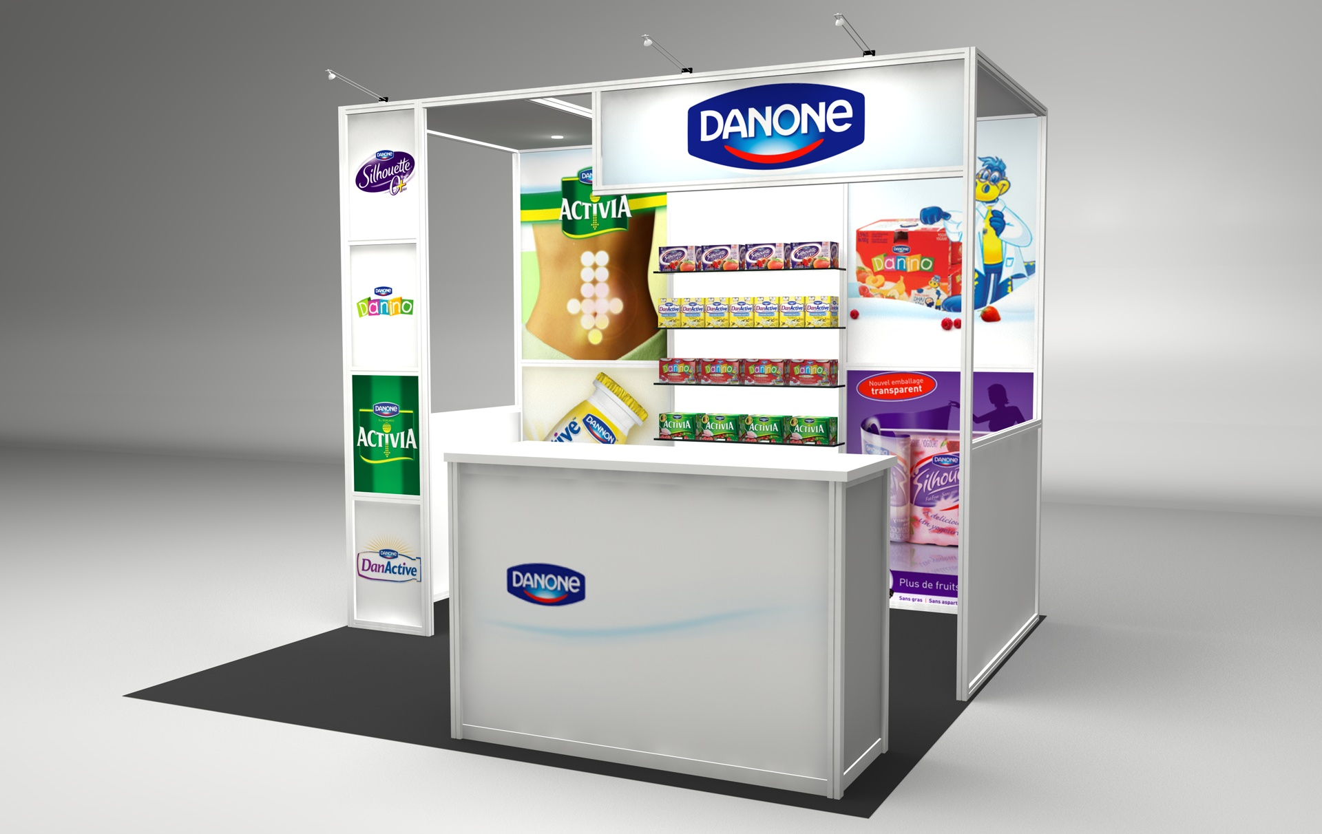 Danone 10' x 10' trade show booth rental with printed graphics