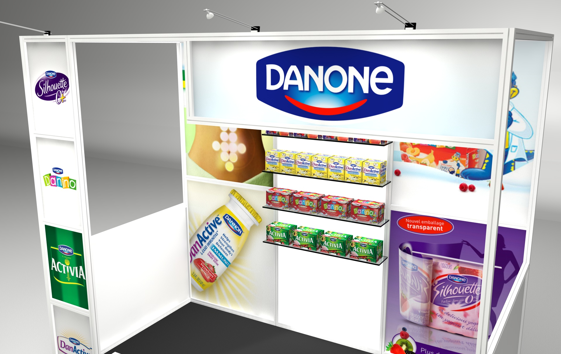 View 3 of Danone's 10' x 10' trade show booth rental with printed graphics