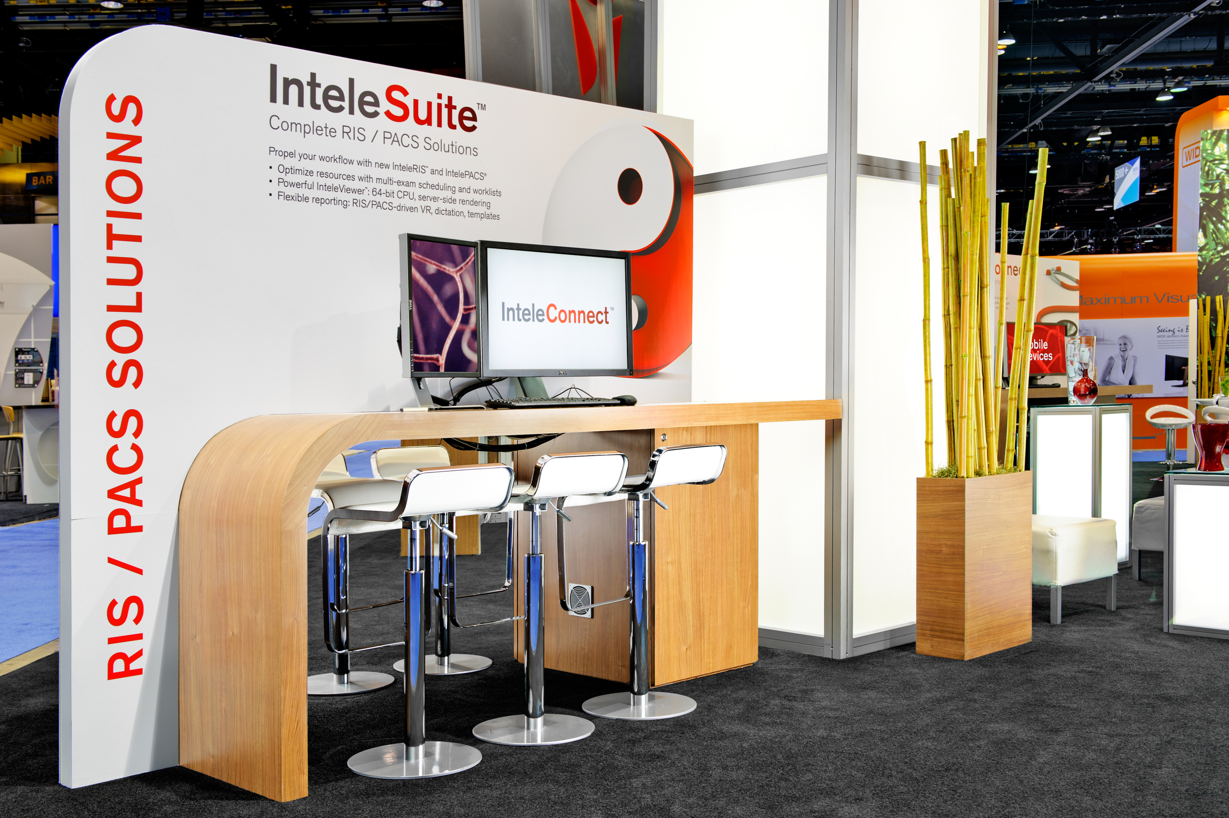 Intelerad's trade show rental exhibit showing a close-up of the custom workstations