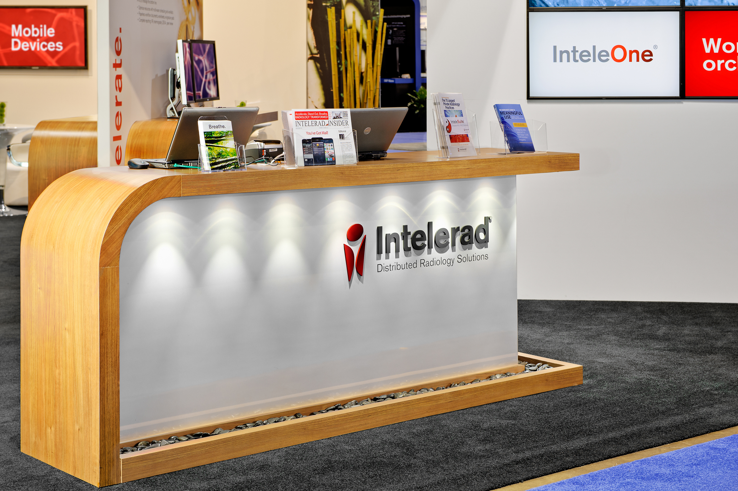 A close-up of Intelerad's custom built reception counter