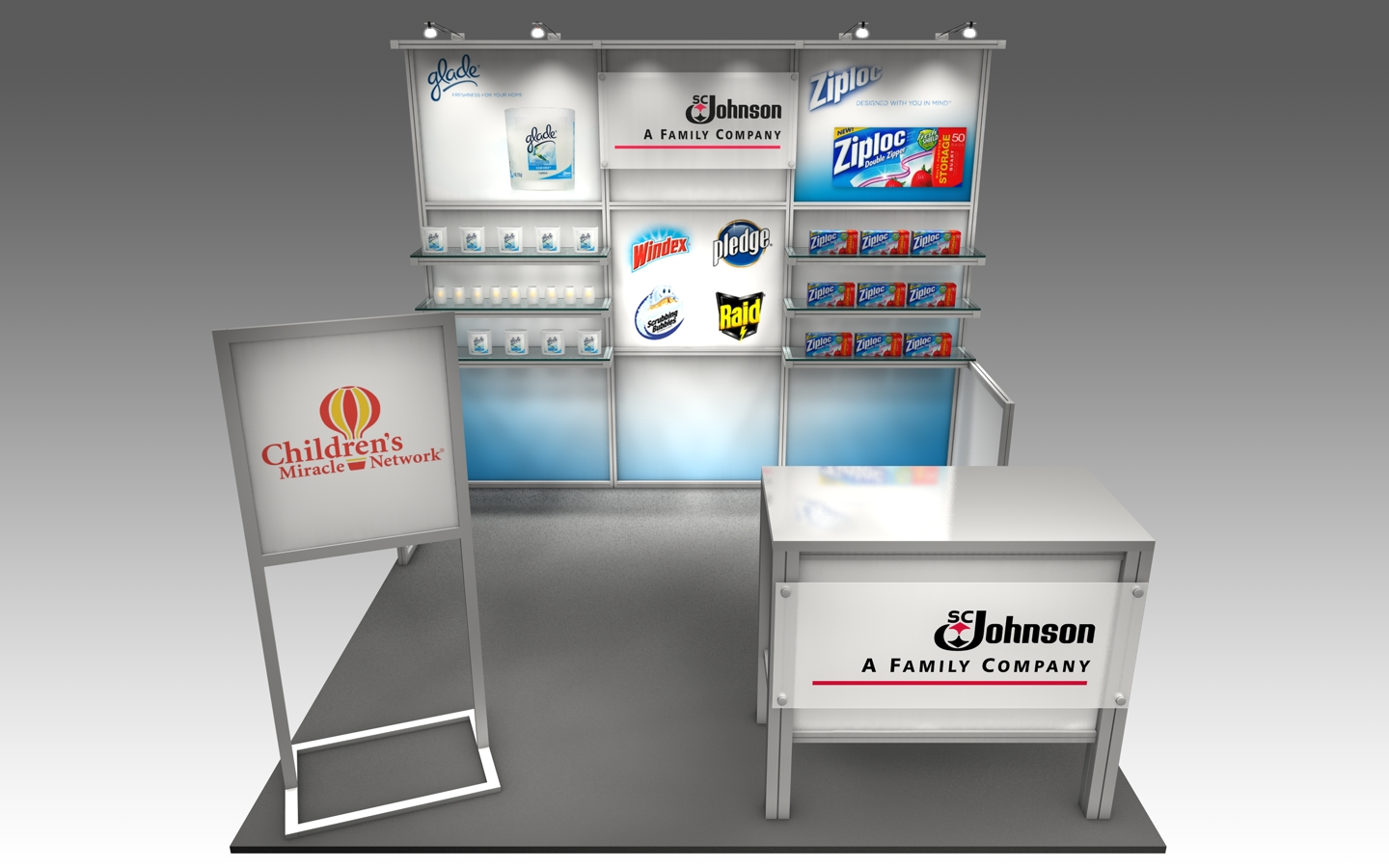 Custom designed rental booth with shelving and graphics to highlight product