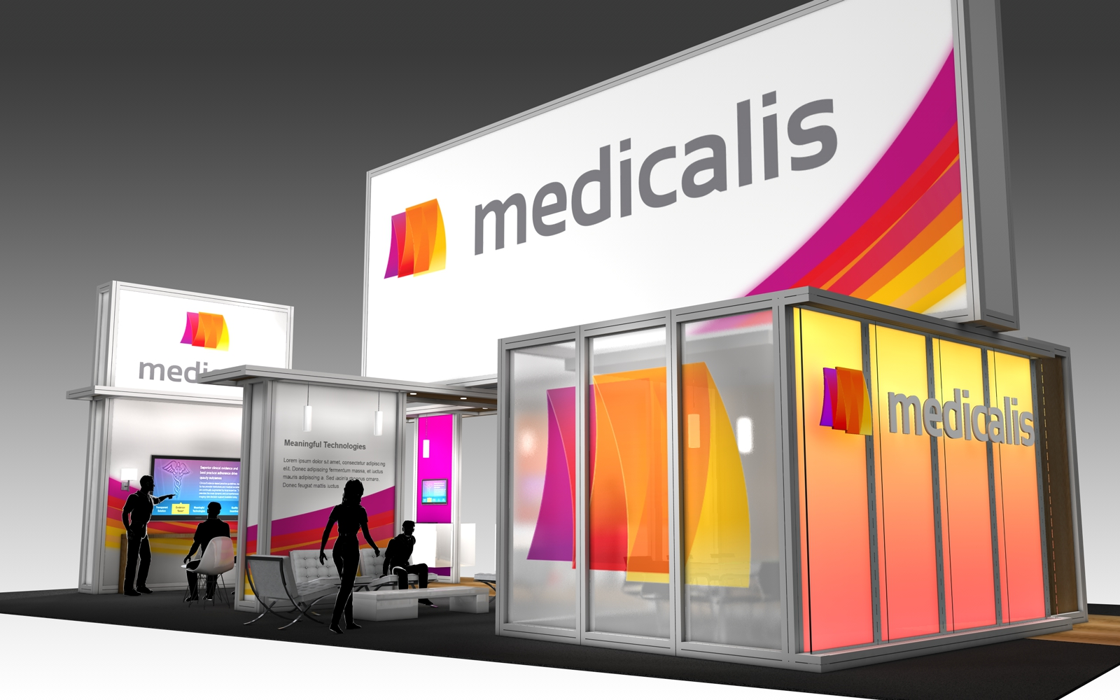 30' x 50' rental exhibit with vibrant graphics and large corporate branding