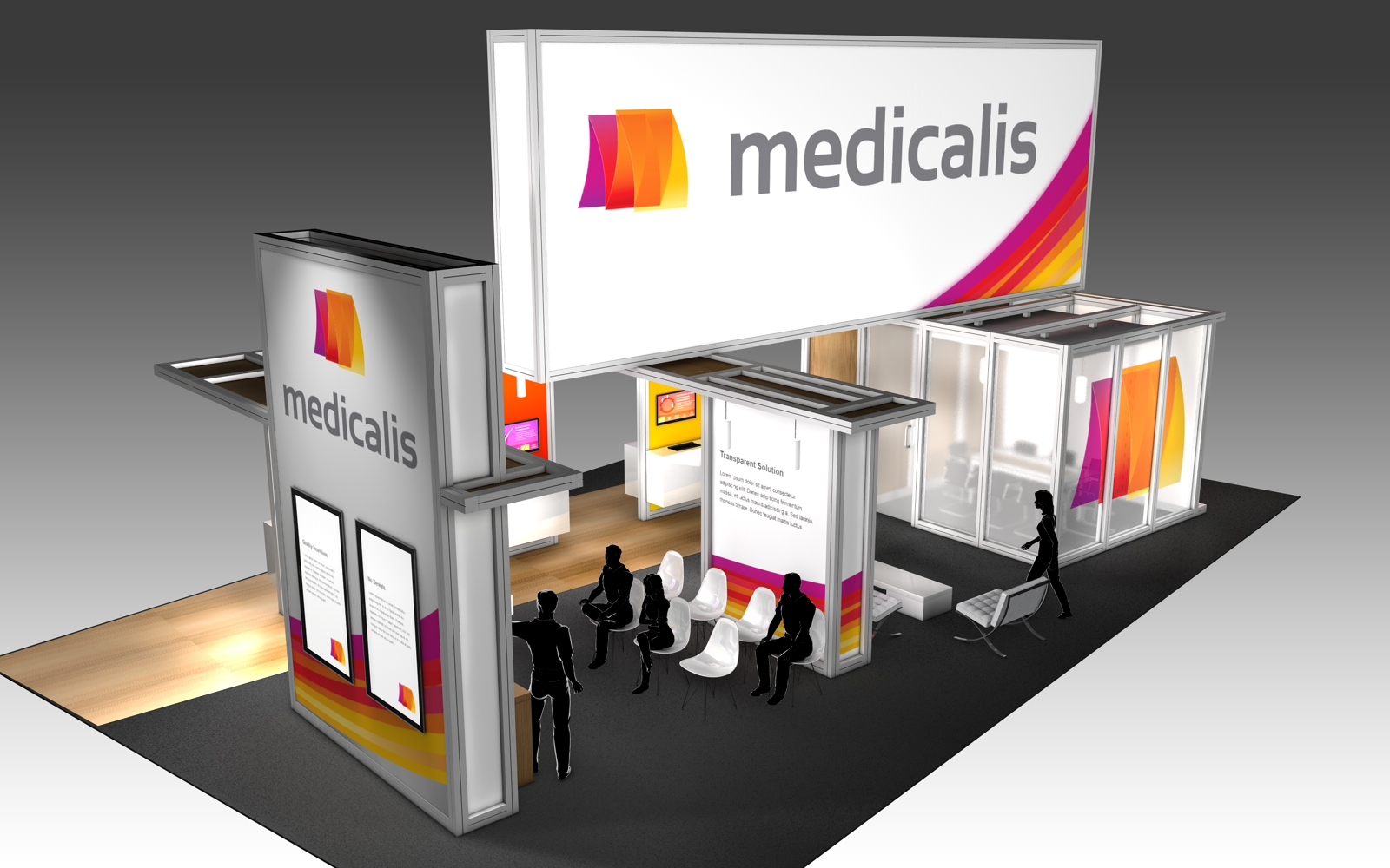 30' x 50' rental exhibit with vibrant graphics and large corporate branding for a U.S. radiology trade show