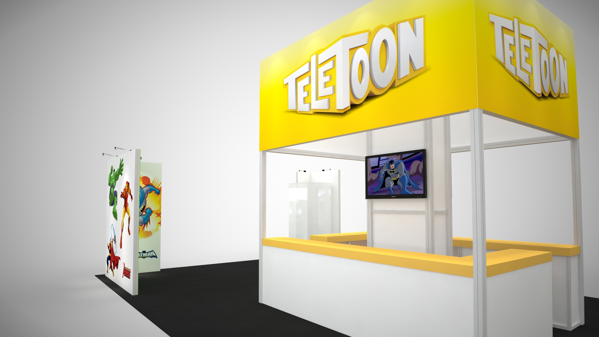 Octanorm rental display that allowed for a flexible configuration of the client's large graphics