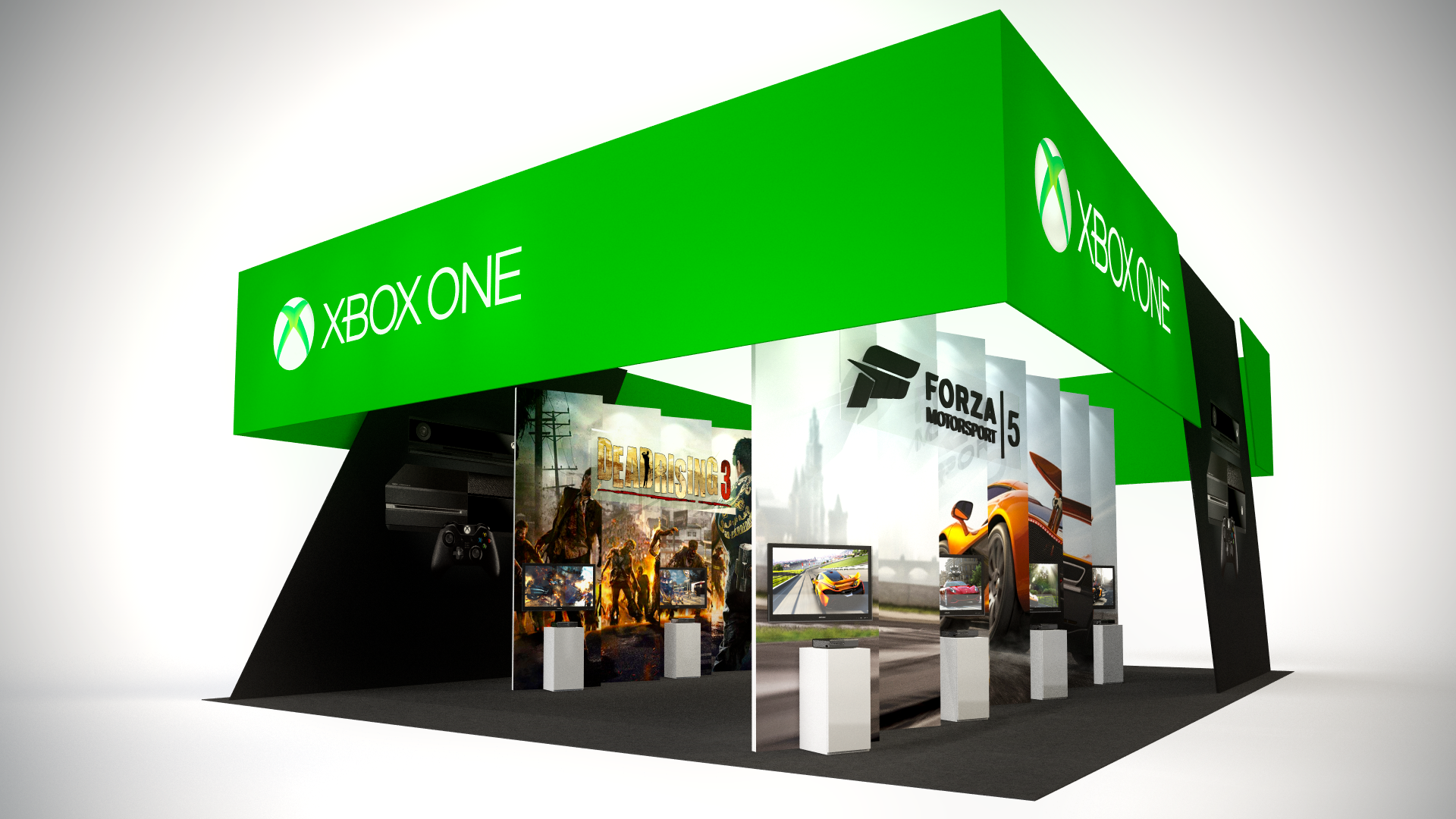 A large hanging banner, over-sized graphics, and integrated AV combined with custom pedestals for the Xbox One launch event at EB Games