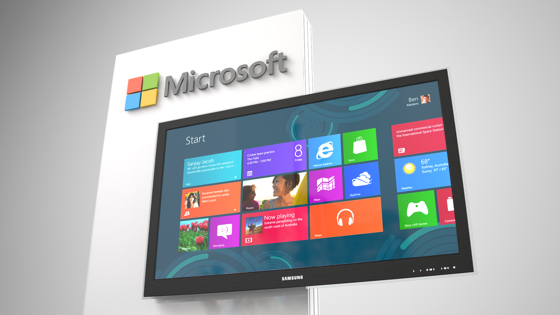 Microsoft's kiosks feature custom cabinetry and millwork, dimensional logo, vibrant graphics and integrated media devices