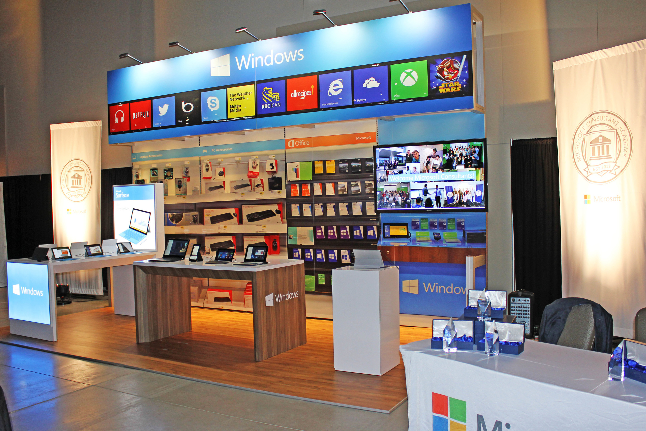 We recreated the Windows Store as a trade show booth rental at a private event for Microsoft