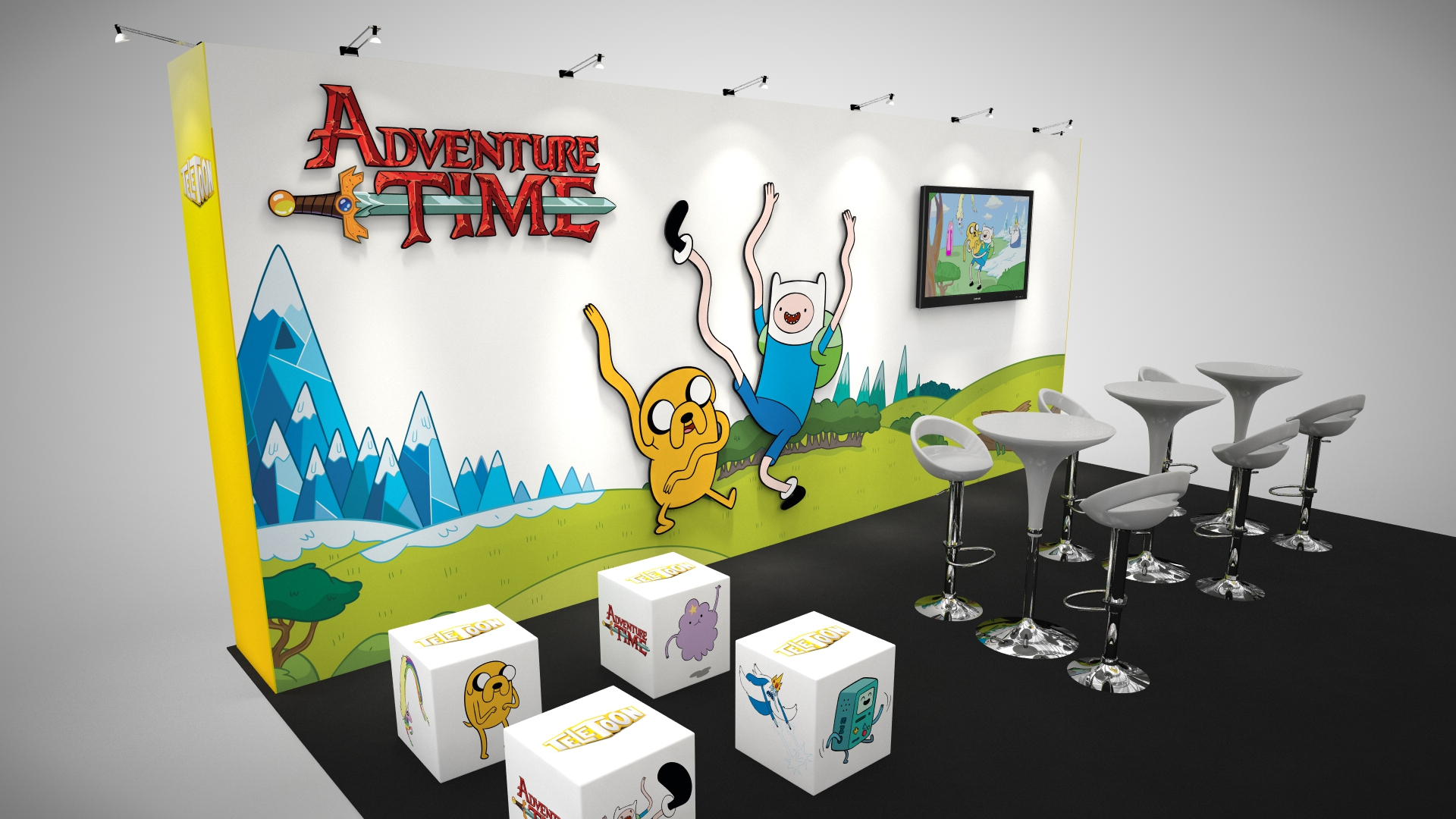 A media and presentation area within TeleToon's trade show rental booth at ComiCon show in Toronto, Canada