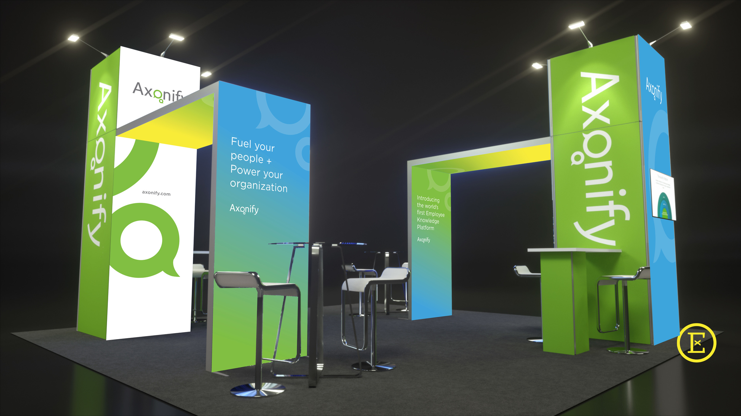 Rendering of Axonify's Trade Show Booth Rental