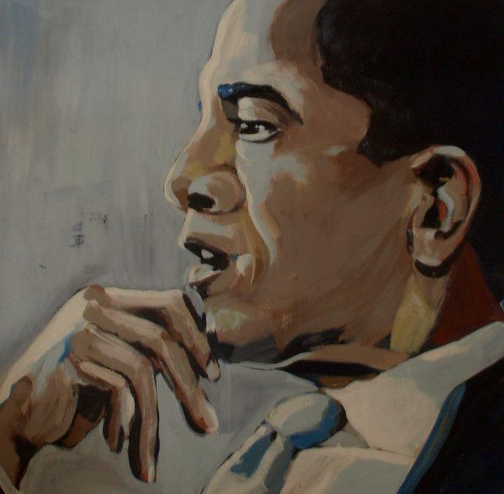 He looked so Pensive, I could almost see the thoughts going on in his head, or at least I imagined I could, Acrylic on Canvas. 90cm x 90cm. 2011