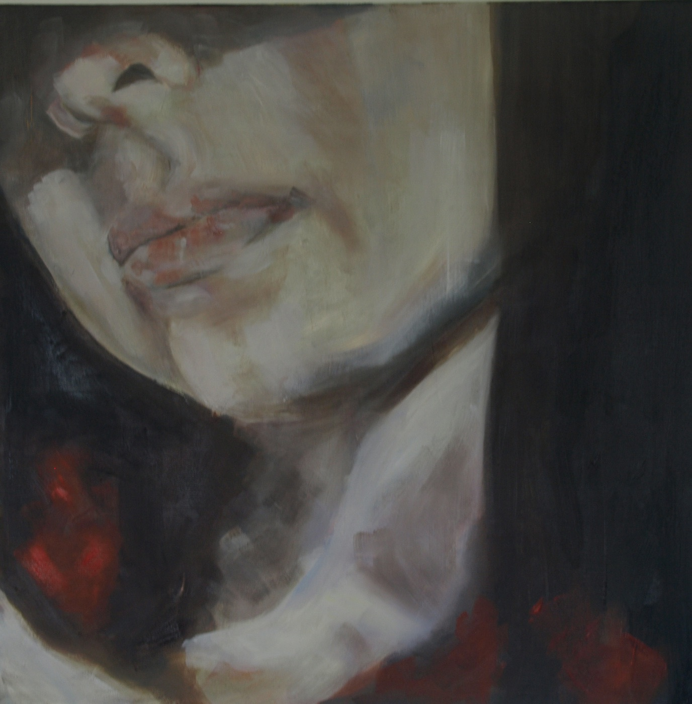 4am, Oil on Canvas. 60cm x 60cm. 2012.   This Painting is derived on a photo called we are the light, we are the shadow, with kind permission of Valentina Testaverde