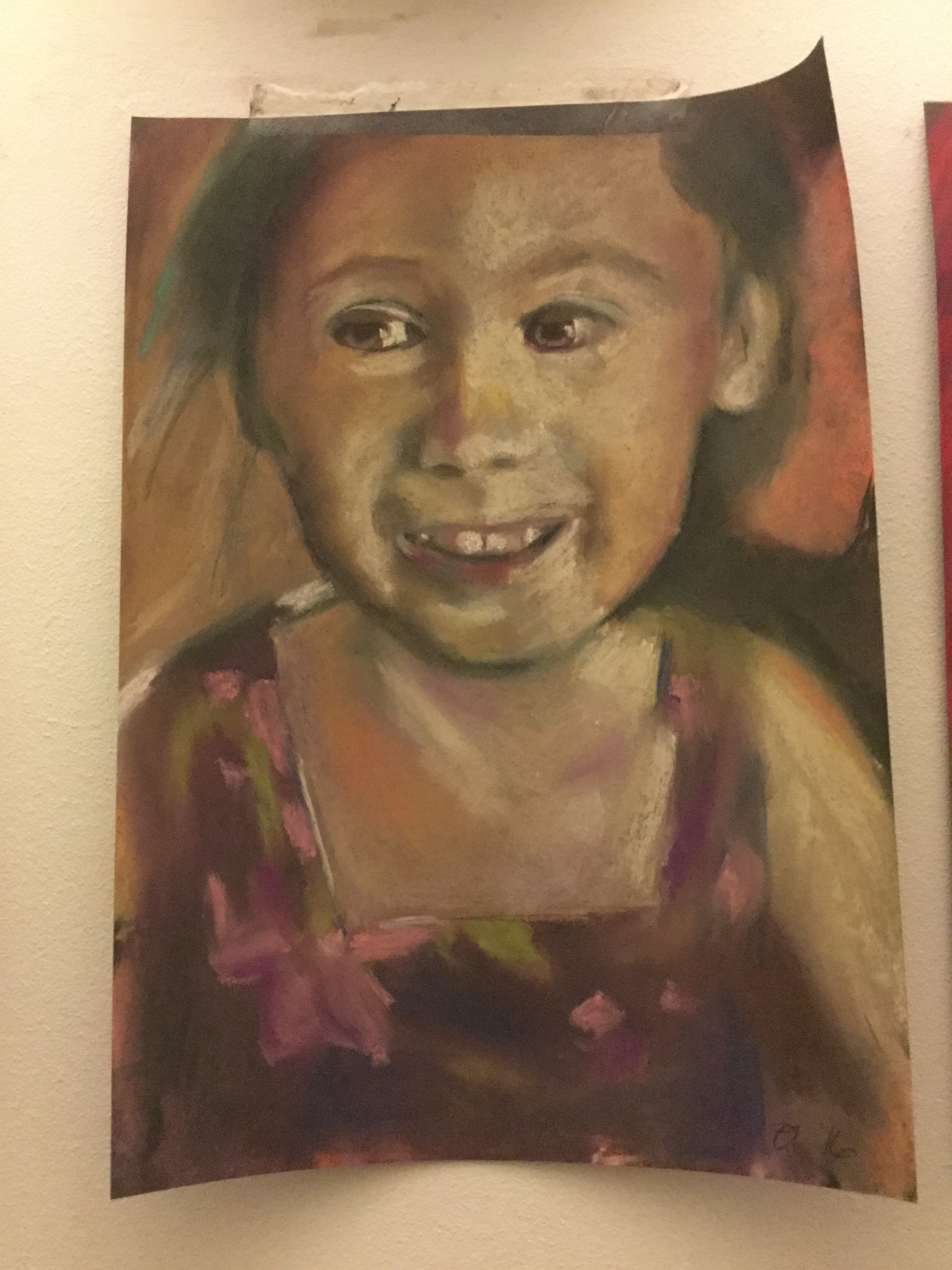 Portrait number three is of a lovely little girl named Peyton whose mum sent me her pictures. She has such a sweet little face. I am so unused to working in pastels - I think it will take a few portraits before I relax into them. Kathy, Peyton's mum did not see the broadcast live but she did manage to see it on playback, as did Peyton.   Her mum has since told me that it is interesting that her portrait is number three, as Peyton was born early at 33 weeks weighing just 3 pounds on the 3rd of the month. She was in the hospital for 3 weeks and was released on December 30th. So lots of number three's in her life. Her grandad reckoned that 3 was a holy number and that Peyton would be fine. She was and she is.   And now she is number three - funny how things happen.   It is so great that people are starting to send me lots of images via Twitter to @OonaghLatchfordArt hashtag #30days30portraits  It is really exciting for me to log on and see all the lovely messages from all of you and I love how quite unexpectedly lots of you are sending me lovely little story's relating to the photos.