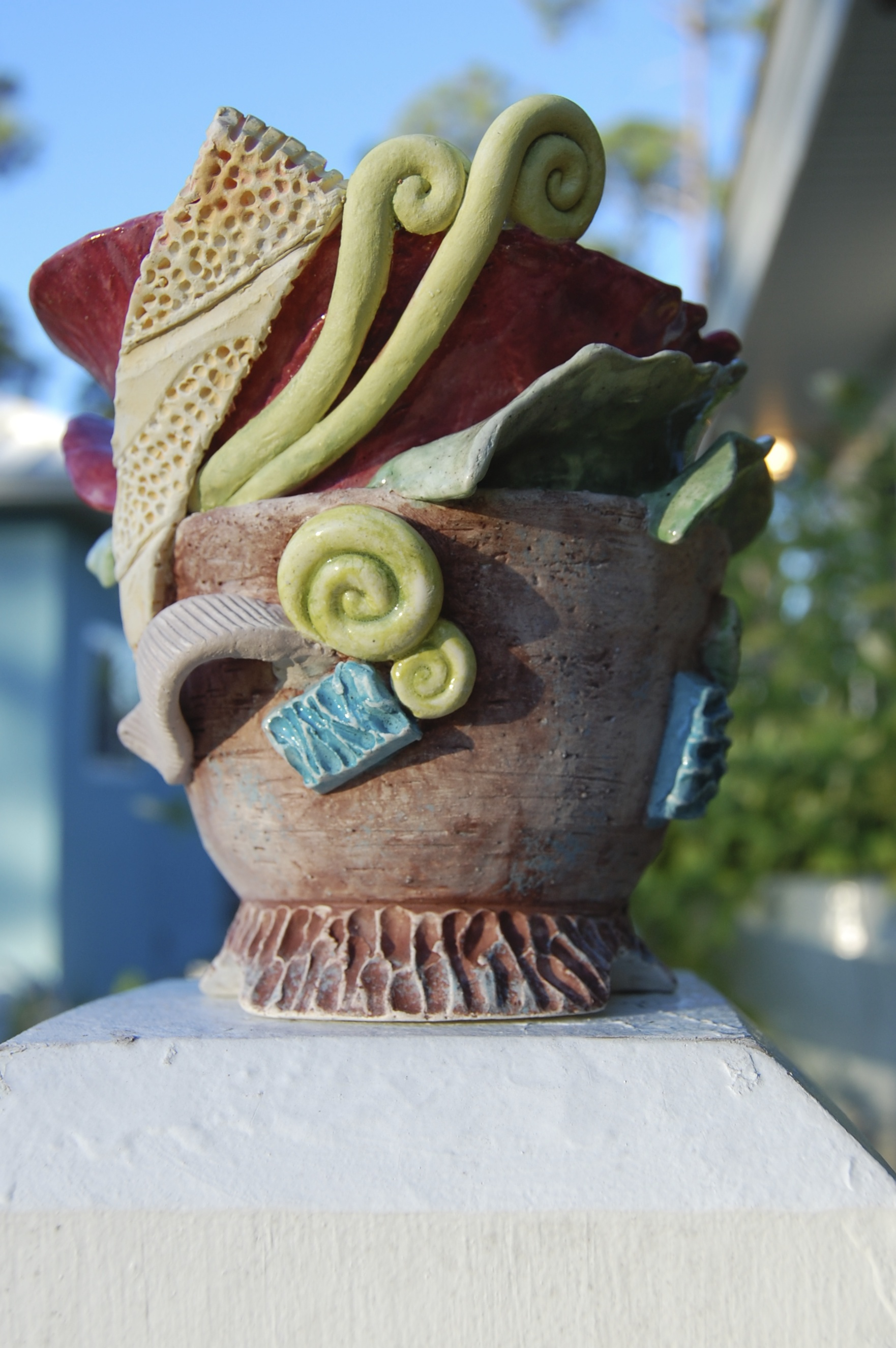 """""""A Little Attitude"""" --Wheel thrown and altered ceramic sculpture."""