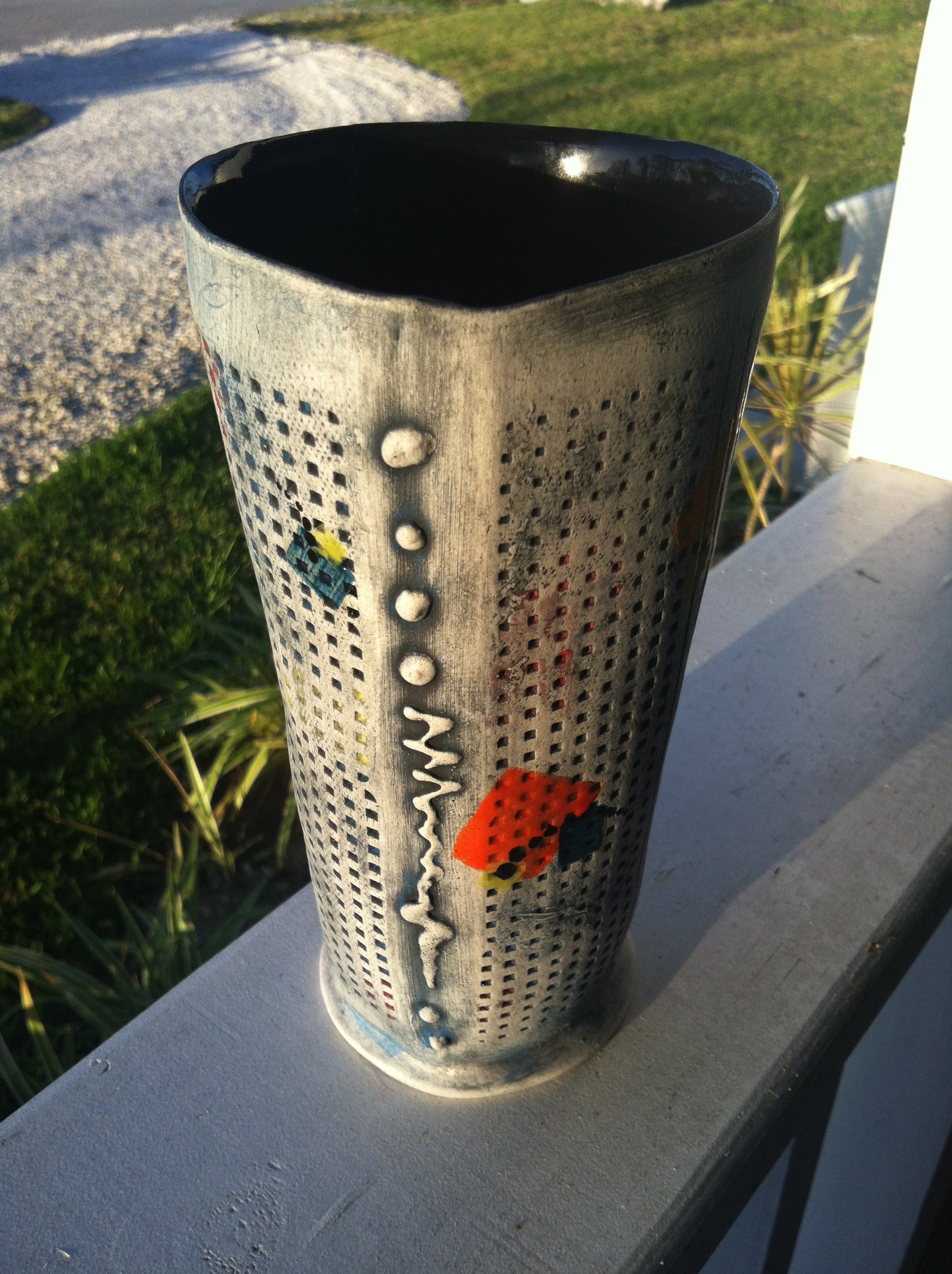 """Completed vase, """"Block Party"""" in all its glory! Matte exterior with glossy splashes of color."""