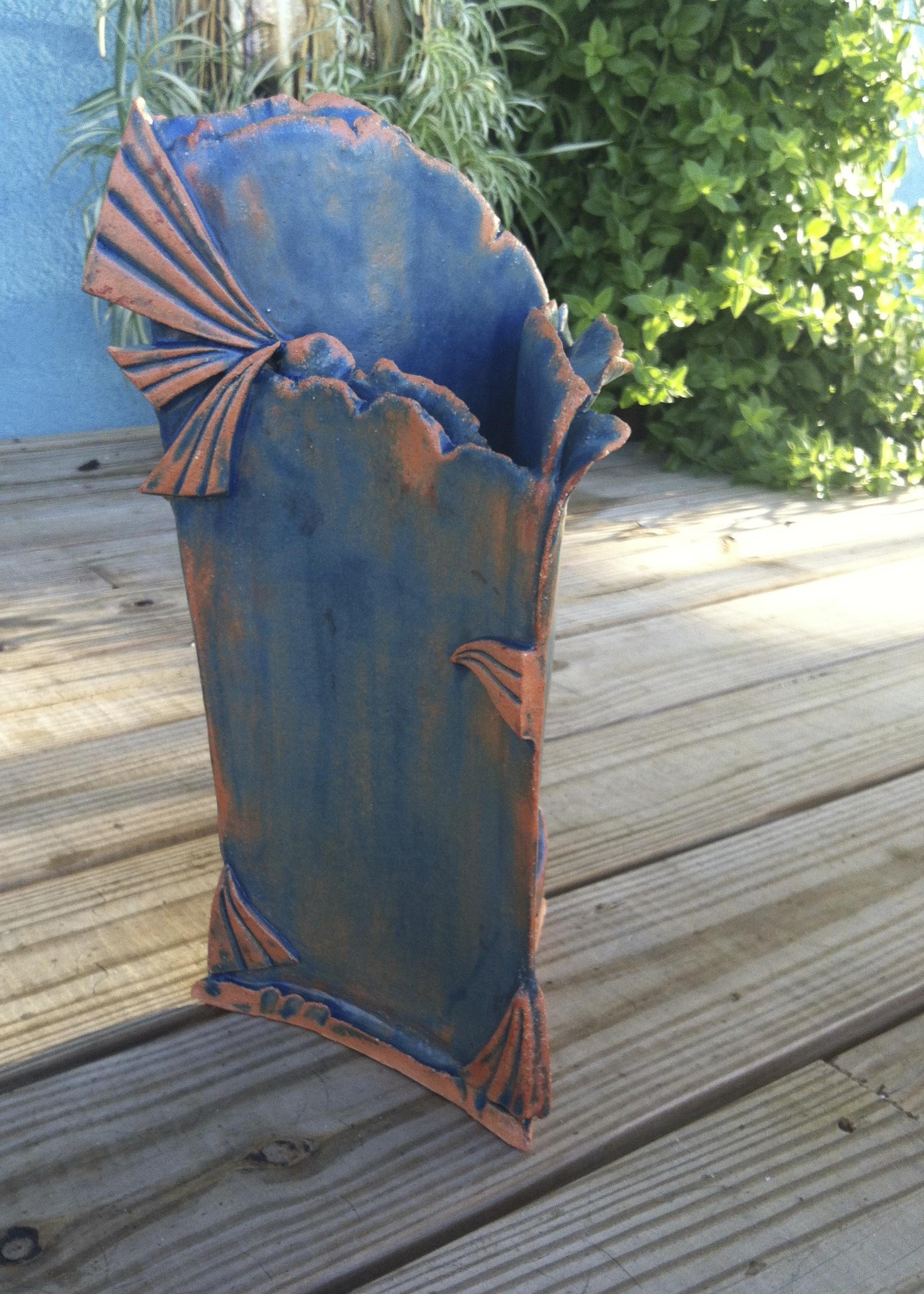 """Triangulate"" ceramic sculptural vase. Red earthenware clay."
