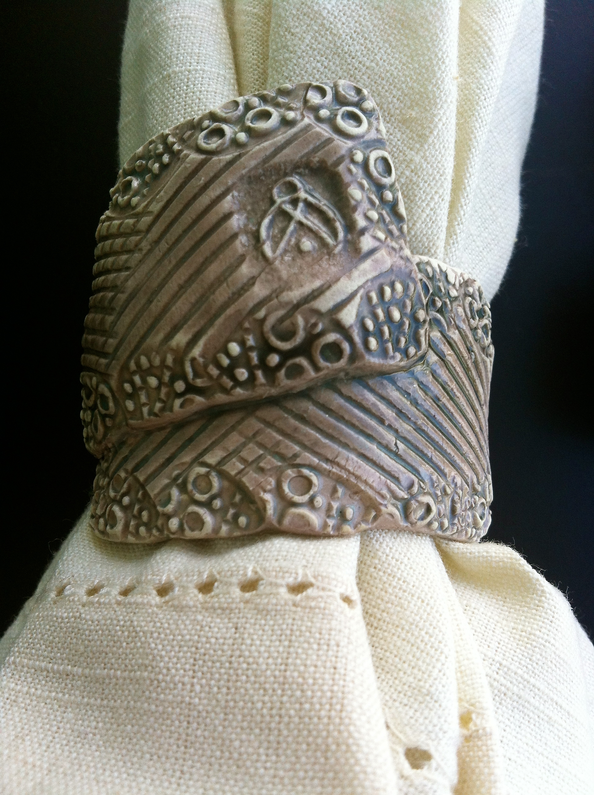 Detail of napkin ring made by hand in The Bahamas.