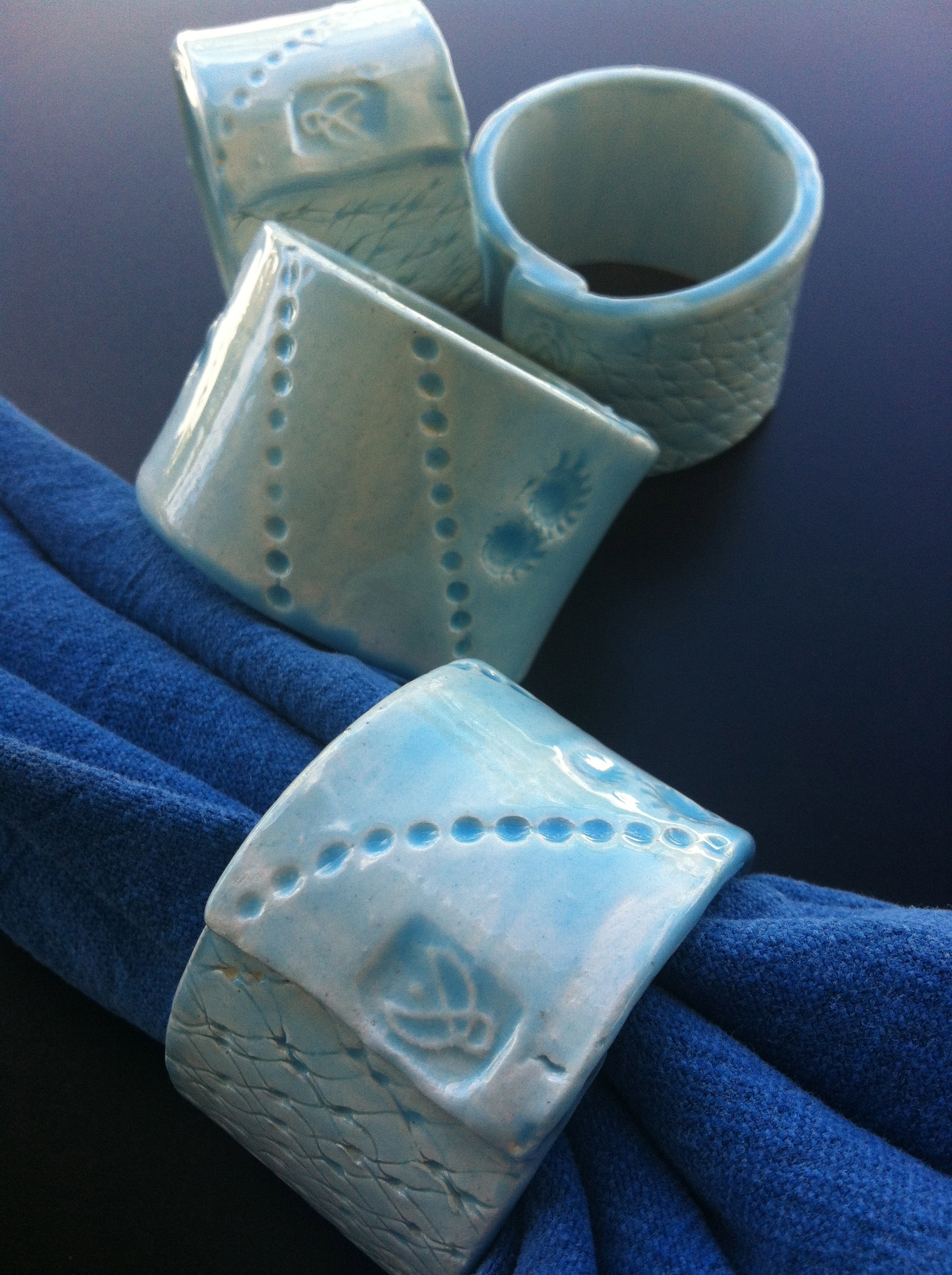 Napkin rings with an ocean hue.