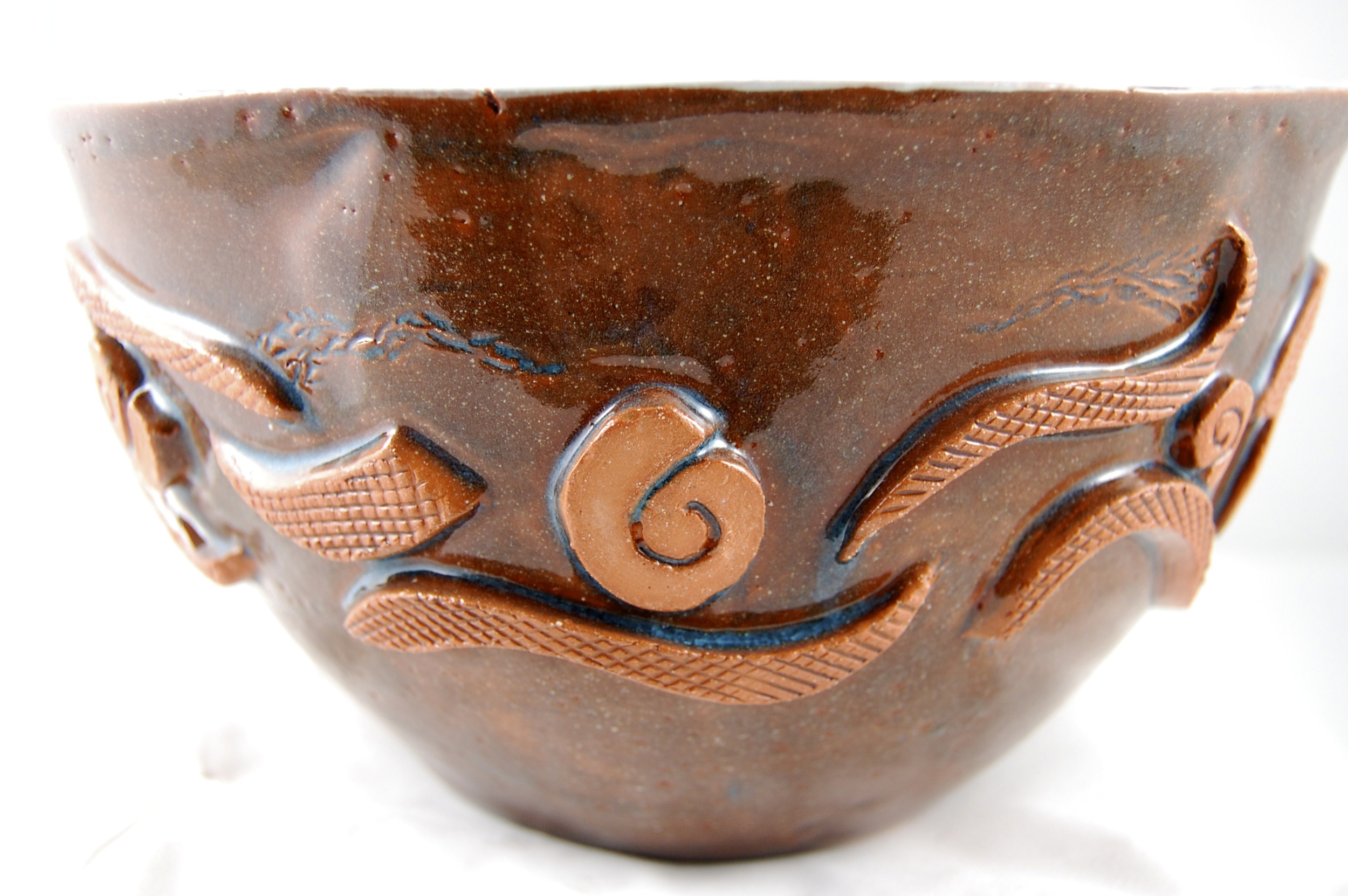 """Tribal Song"" hand built and sculpted earthenware vessel."