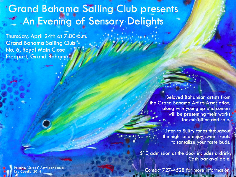 "Join the Grand Bahama Sailing Club in their fundraiser $10 admission at the door includes one drink. Art exhibition features work from The Grand Bahama Artists Association. Two of my ceramic pieces will be shown along with three new acrylics on canvas with marine themes: ""Rake"", ""Scrape"", and ""Tidal Tears."""