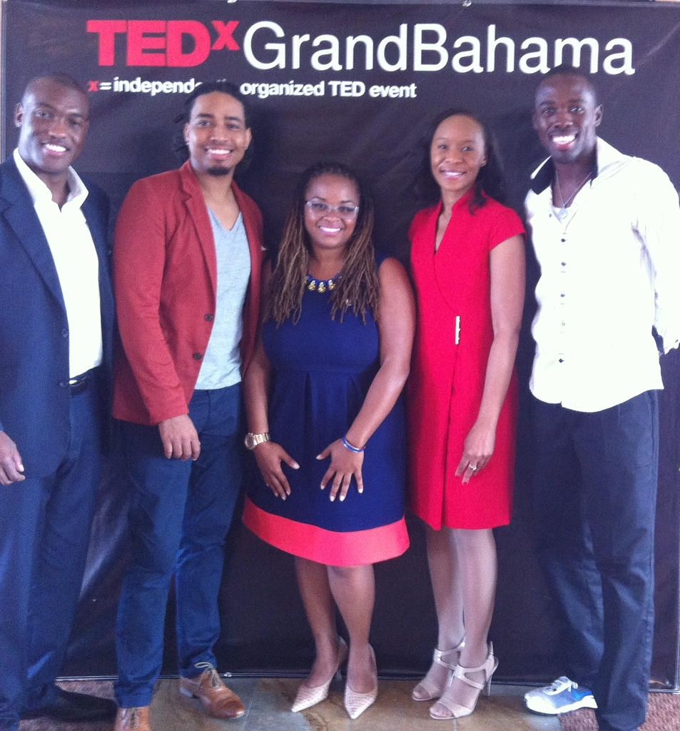 TEDxGrandBahama presenters: Lemarque Campbell, Joey Gaskins, Jr., Dr. Crystal A. deGregory, Katarvia Taylor, and Luckner Timothee.
